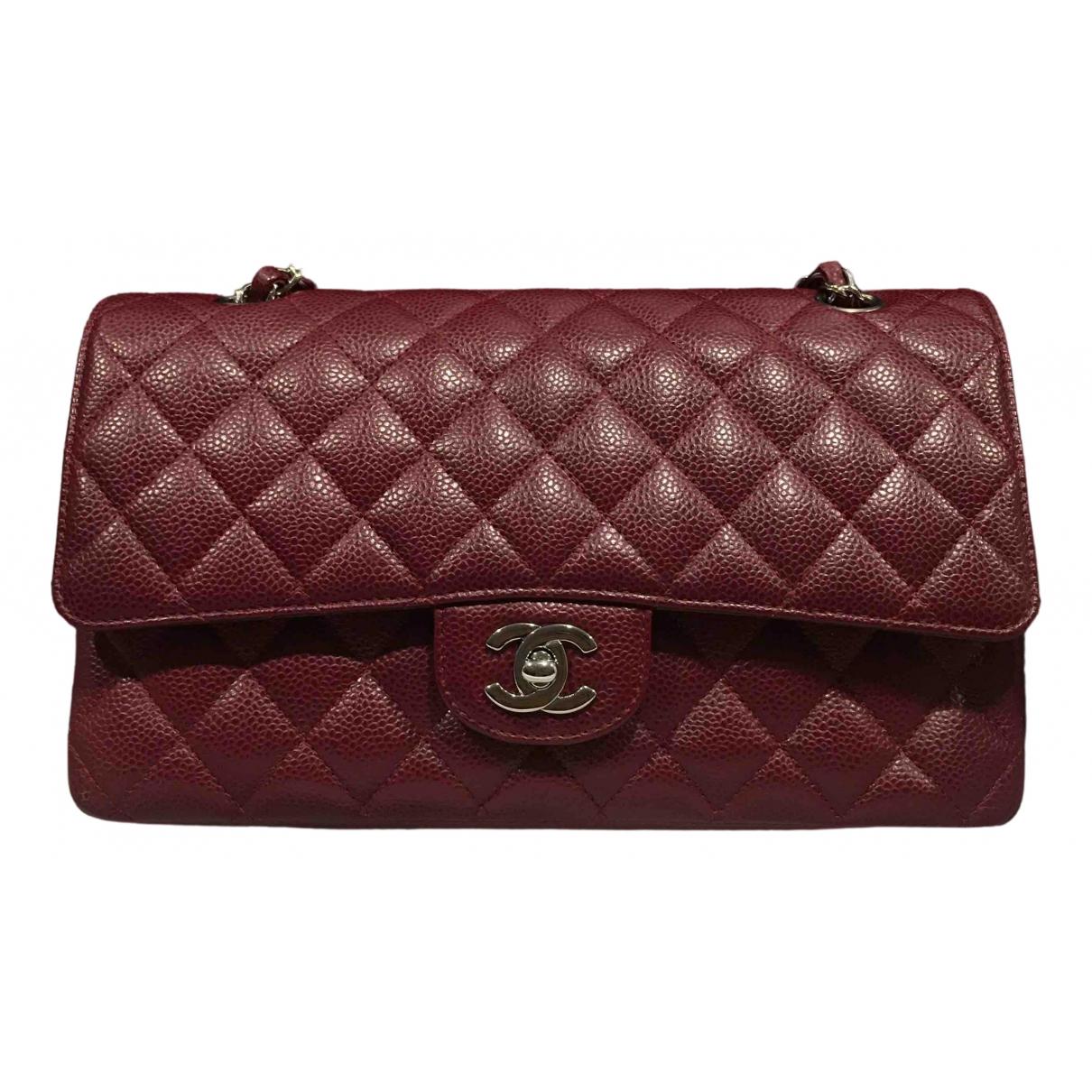 Chanel - Sac a main Timeless/Classique pour femme en cuir - bordeaux