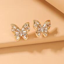 Rhinestone Butterfly Design Stud Earrings
