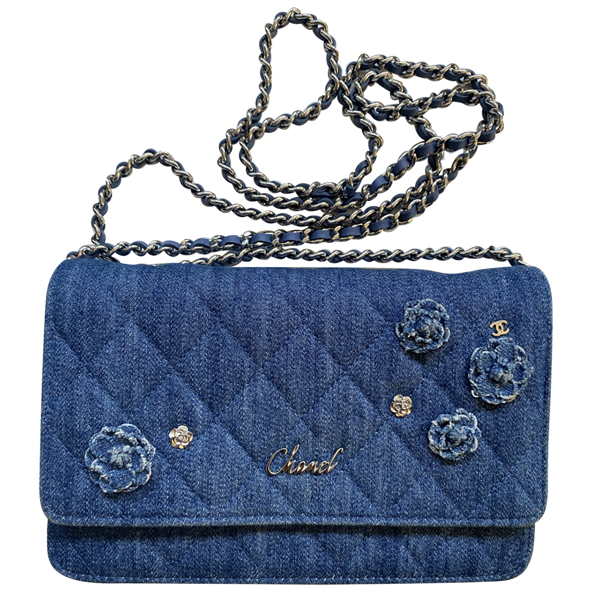 Bolsos clutch Wallet on Chain en Denim - Vaquero Azul Chanel