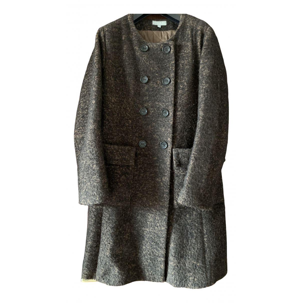 Non Signé / Unsigned N Brown Wool coat for Women 38 FR