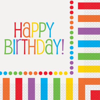 Rainbow Birthday Luncheon Napkins, 16ct For Birthday Party