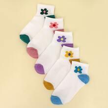 5pairs Flower Print Ankle Socks
