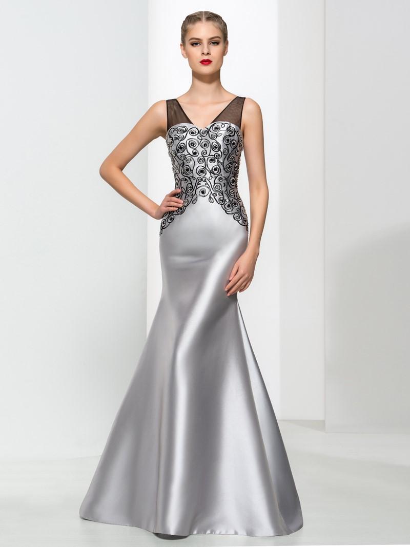 Ericdress Mermaid V-Neck Beading Elegant Evening Dress
