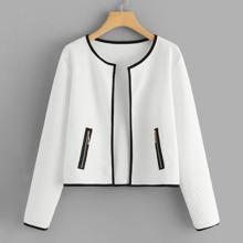Contrast Trim Zipper Detail Coat