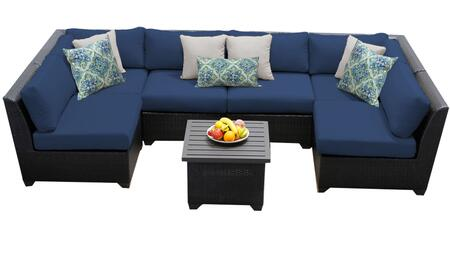 Barbados BARBADOS-07c-NAVY 7-Piece Wicker Patio Set 07c with 2 Corner Chairs  4 Armless Chairs and 1 End Table - Wheat and Navy