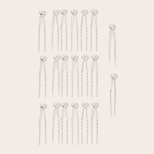 Faux Pearl Decor Hair Pin 20pcs