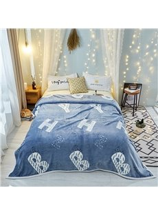 Plain Letter Blue Lightweight Thermal Flannel Blanket for Couch Bed Sofa