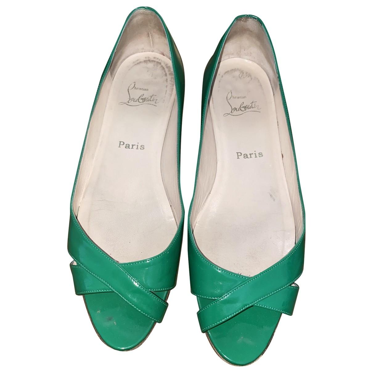 Christian Louboutin - Ballerines   pour femme en cuir verni - vert
