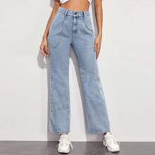 High Waisted Chain Decoration Baggy Mom Jeans