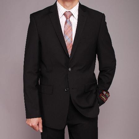 2 Button Black Textured Slim fit Suit Mens Cheap
