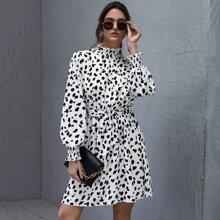 Mit Guertel  Uberalles Muster Elegant Kleider