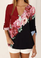 Floral Tab-Sleeve V-Neck Button Blouse
