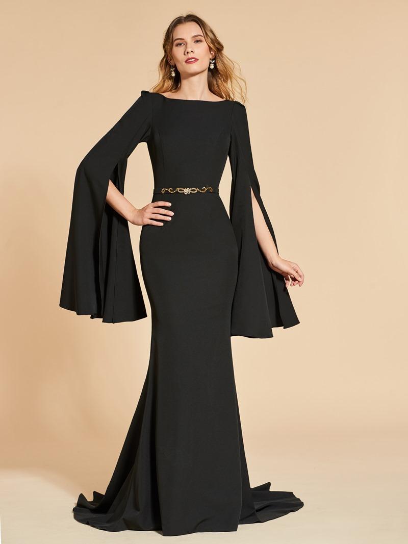 Ericdress Royal Long Sleeve Beaded Waist Backless Mermaid Evening Dress