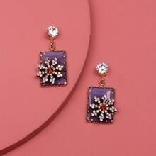 Rhinestone Flower Decor Rectangle Drop Earrings
