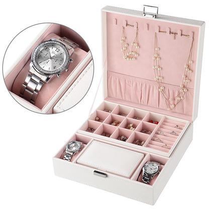 Boîte de rangement pour organisateur de bijoux à deux couches - SortWise™