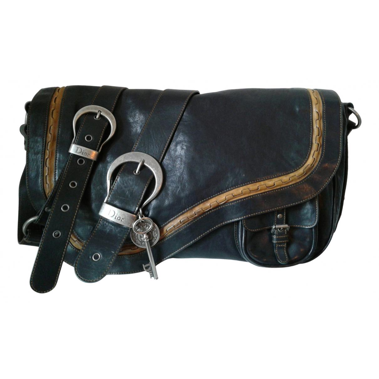 Dior Gaucho Handtasche in  Schwarz Leder