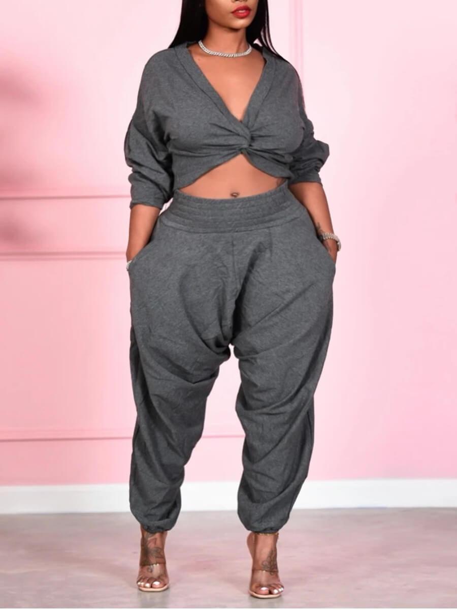 LW Lovely Trendy V Neck Knot Design Grey Plus Size Two-piece Pants Set