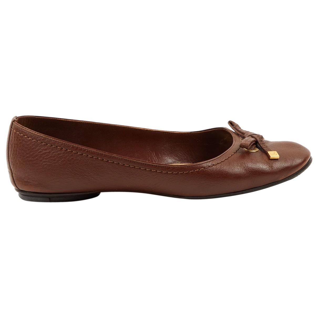 Louis Vuitton - Ballerines   pour femme en cuir - marron