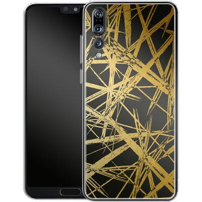 Huawei P20 Pro Silikon Handyhuelle - Strokes Gold Black von Khristian Howell
