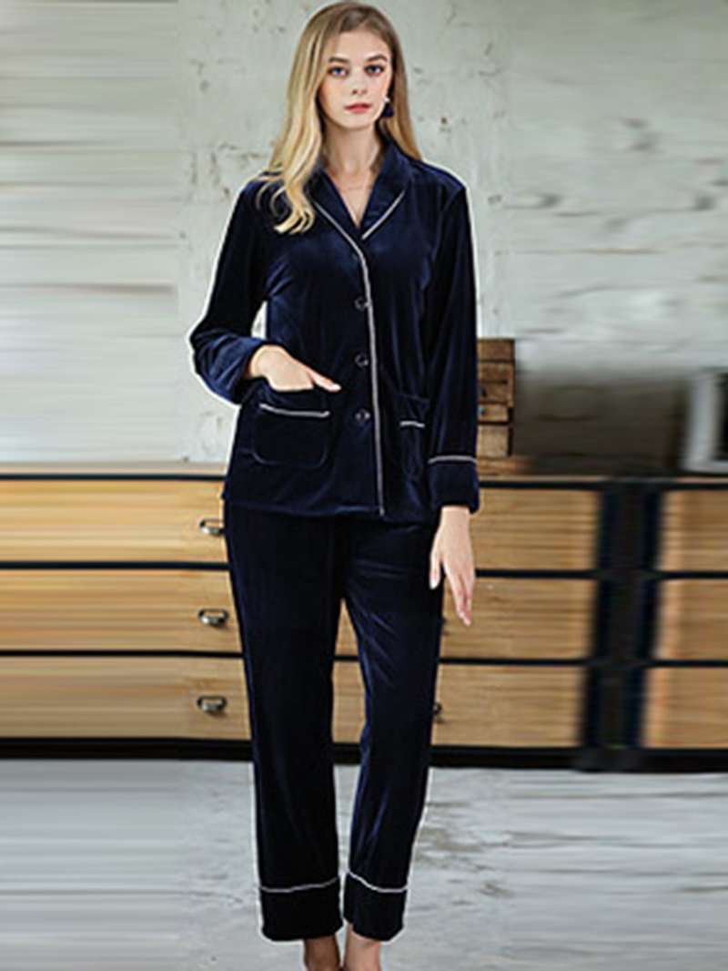 Ericdress Lapel Plain Pocket Simple Women's Pajama Set