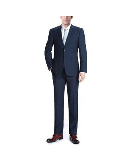 Mens Two Buttons One Chest Pocket Wool Navy Slim Fit Two Piece Suit