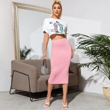 Figure and Butterfly Print Tee and Pencil Skirt Set