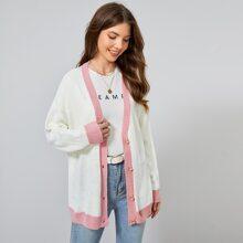 Drop Shoulder Contrast Trim Button Placket Cardigan