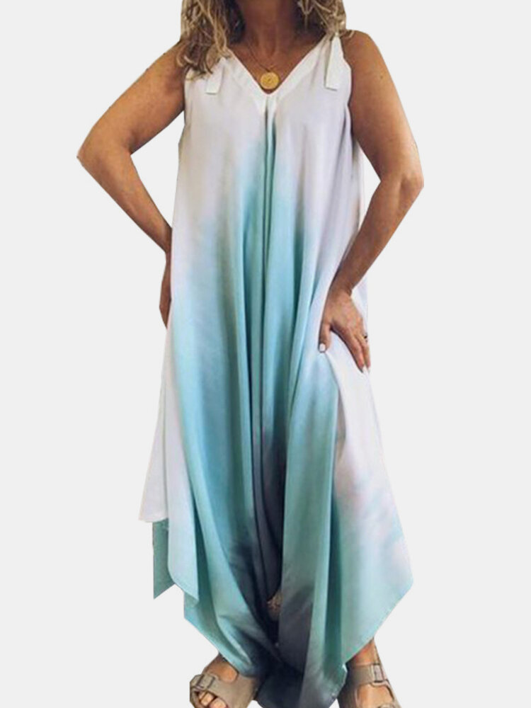 Tie-dye Printed Ombre Straps Jumpsuit For Women