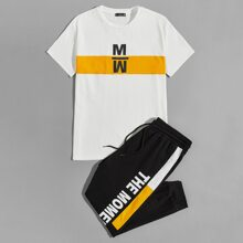 Men Letter Graphic Colorblock Top & Striped Side Sweatpants Set