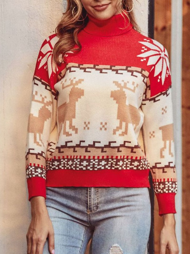Ericdress Christmas Patchwork Thin Turtleneck Winter Sweater
