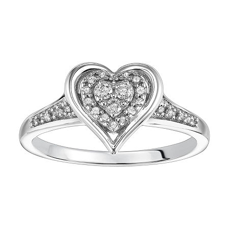 Womens 1/6 CT. T.W. Genuine White Diamond Sterling Silver Halo Engagement Ring, 7 , No Color Family