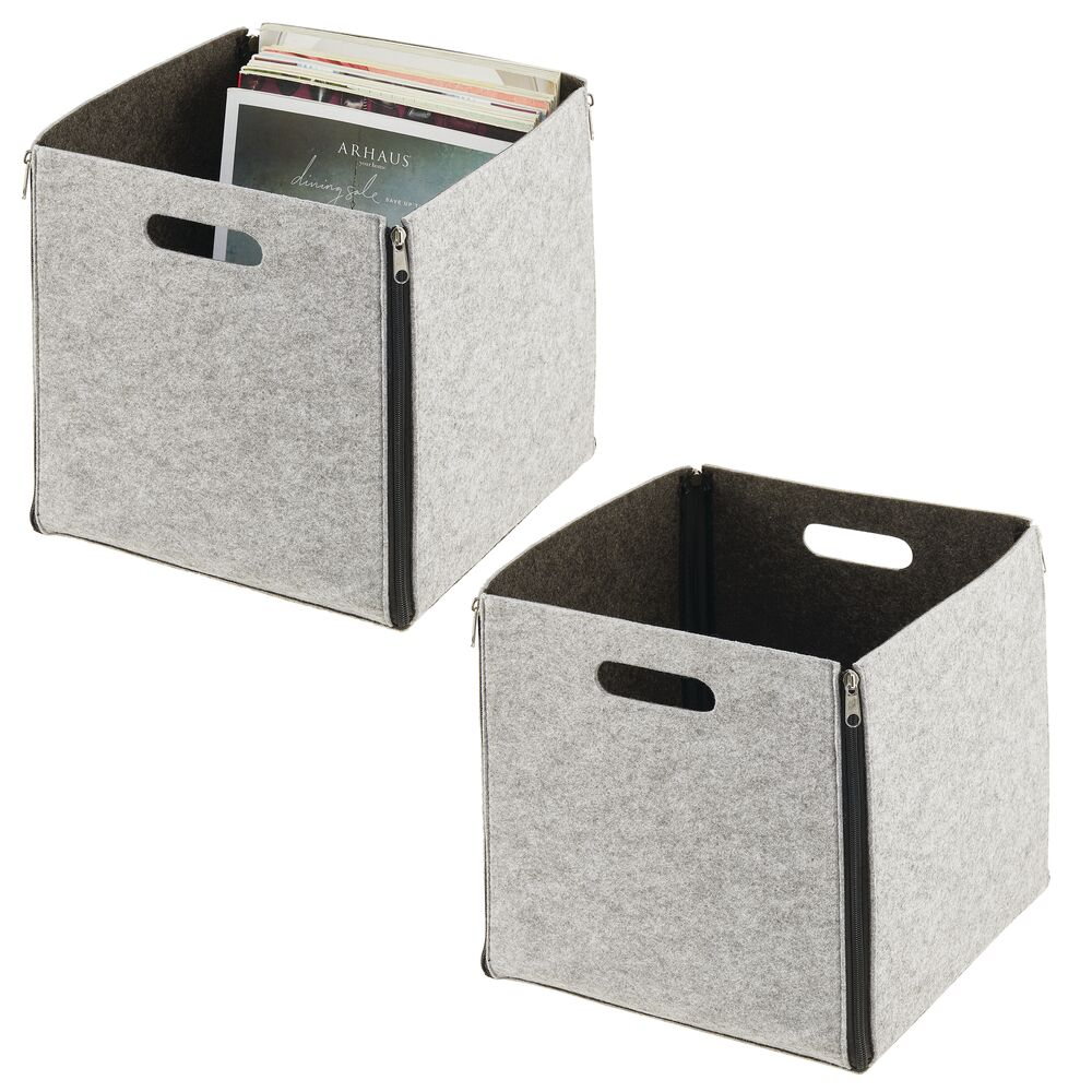 Felt Cube Zipper Bin with Handles - Pack of in Charcoal/Light Gray, by mDesign