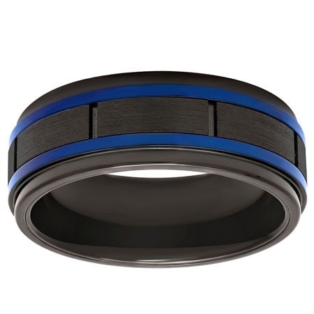 Blue Line 8MM Tungsten Wedding Band, 12 1/2 , No Color Family