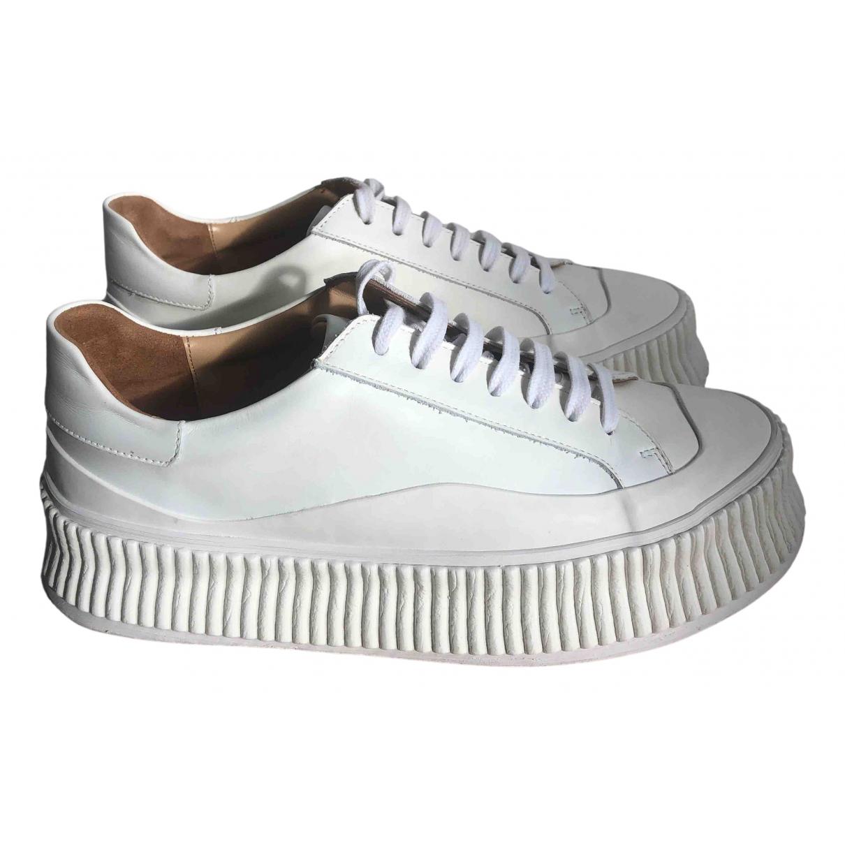 Jil Sander - Baskets   pour femme en cuir - blanc