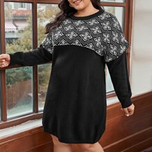 Plus Geo Pattern 2 In 1 Sweater Dress