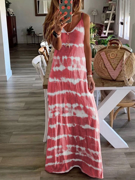 Milanoo Tie Dye Maxi Dress Sleeveless Long Summer Dress