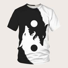 Maenner zweifarbiges T-Shirt mit Tier Muster