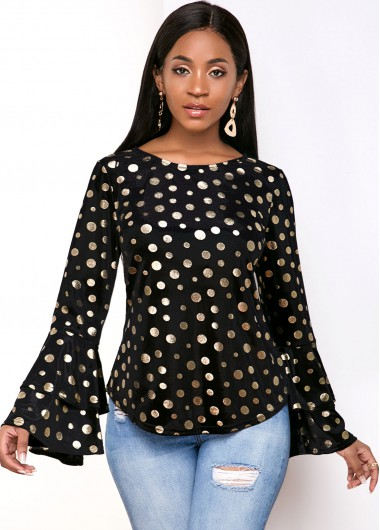 Velvet Hot Stamping Dot Layered Bell Sleeve T Shirt - S