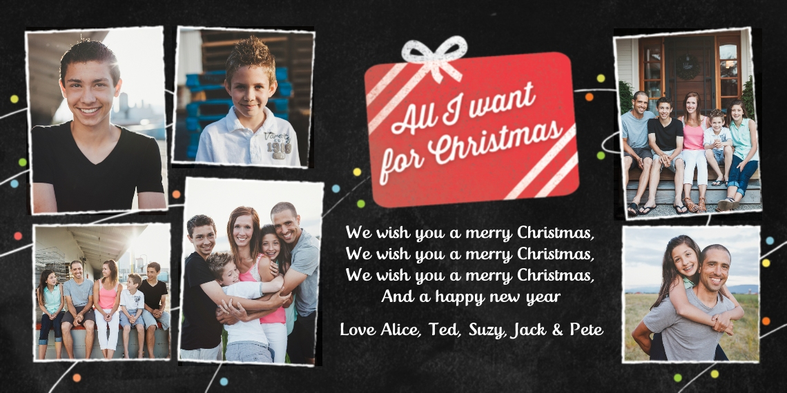 Christmas Photo Cards Flat Matte Photo Paper Cards with Envelopes, 4x8, Card & Stationery -Chalkboard Christmas