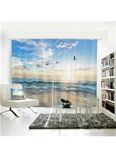 Blue Sky with White Clouds Sea with Seagulls Pattern 3D Polyester Curtain