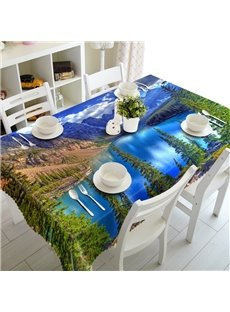 Blue River at the Foot of Mountain Prints Design Washable 3D Tablecloth