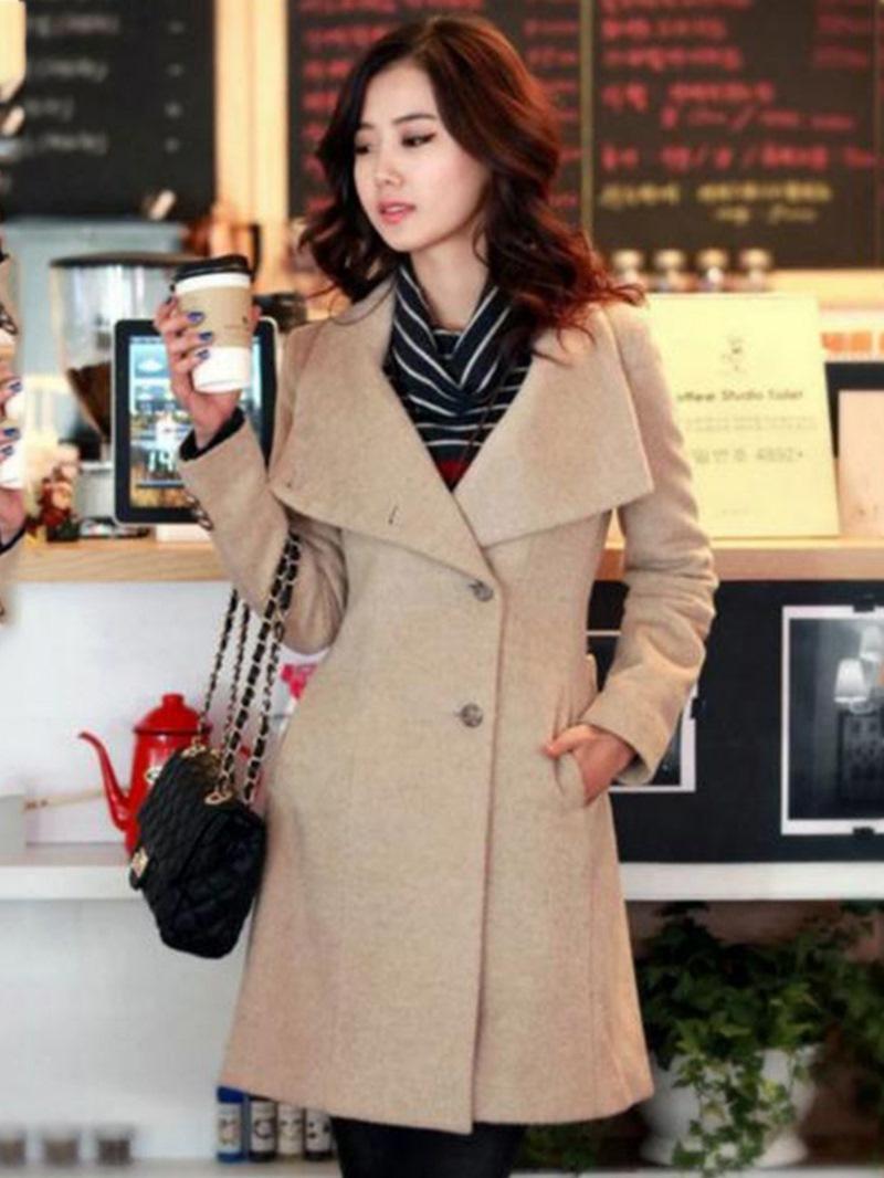 Ericdress Plain Belt Mid-Length Single-Breasted Casual Coat