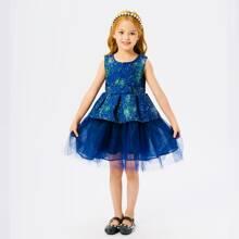Toddler Girls Gilding Print Bow Peplum Party Dress
