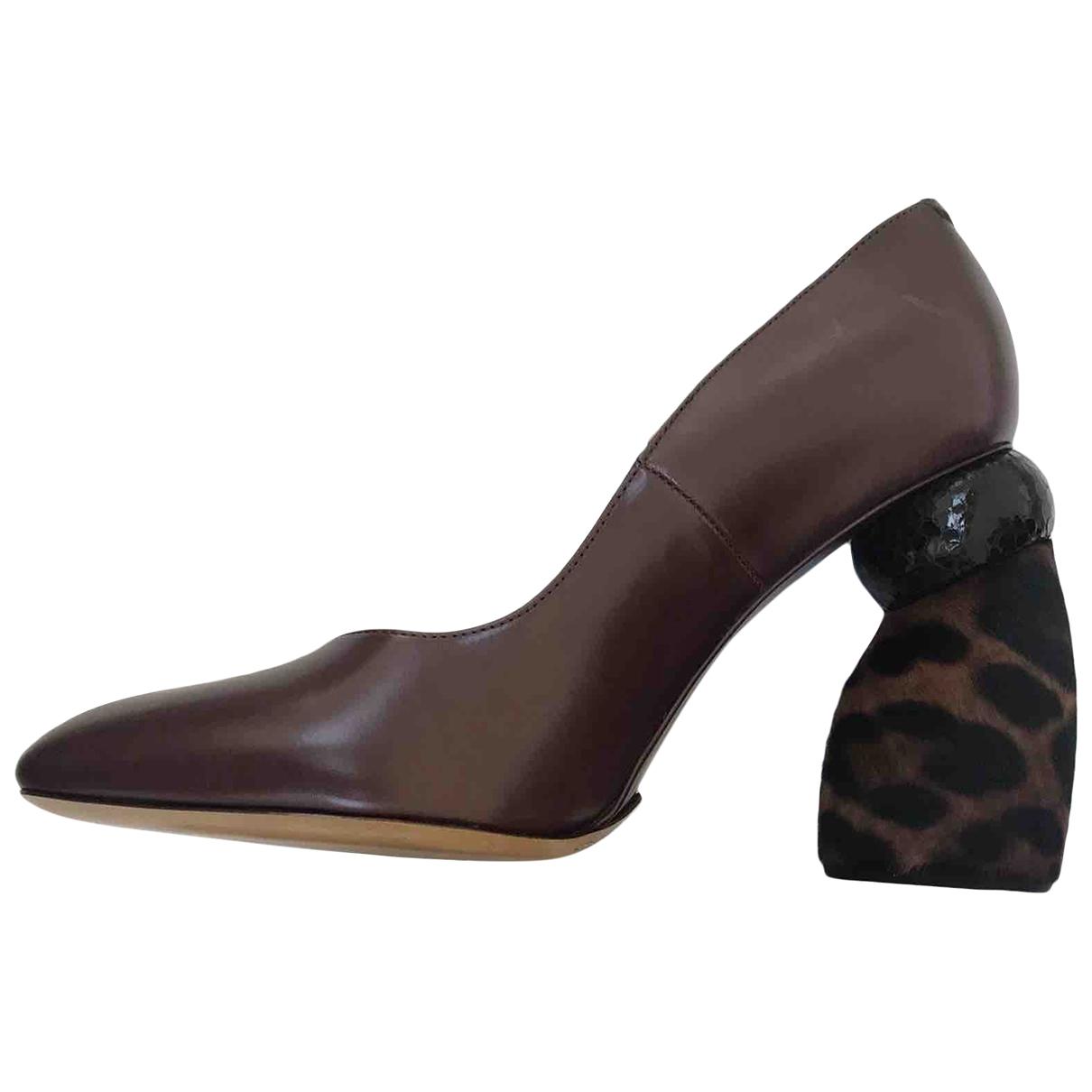 Dries Van Noten \N Brown Leather Heels for Women 39.5 EU