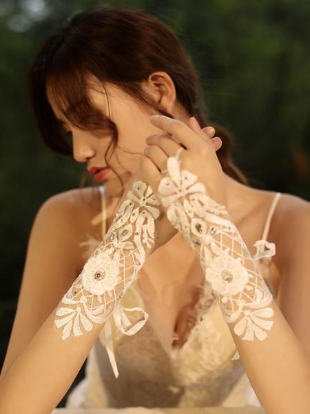 Milanoo Wedding Gloves Fingerless Gloves Short Accessory Tulle Lace Bridal Gloves