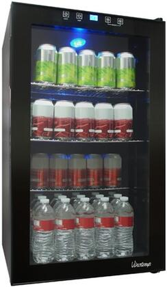 VT-BC34 TS Freestanding Touch Screen Beverage Cooler with Digital Temperature Display with Blue LED Readout  Recessed Handle  Interior Light  in