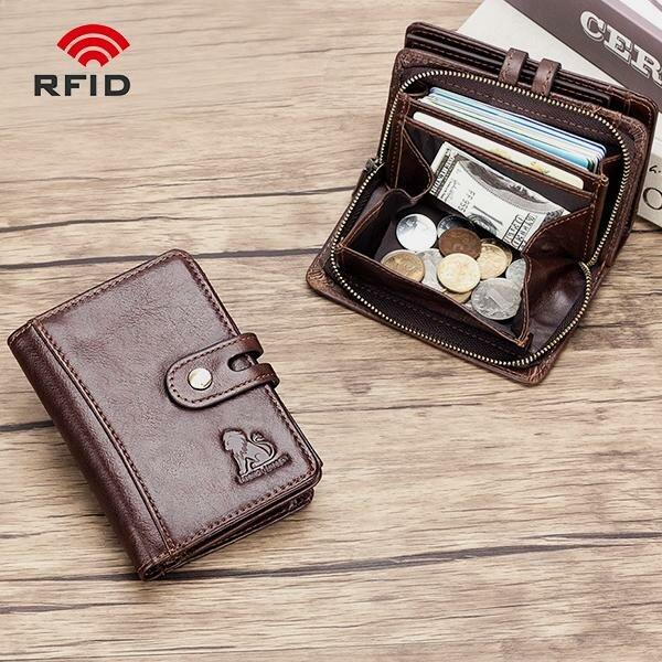 Men RFID Genuine Leather Detachable 7 Card Slots Zipper Short Coin Purse Wallet