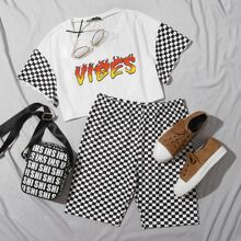 Checkered Sleeve Letter Graphic Top & Biker Shorts Set