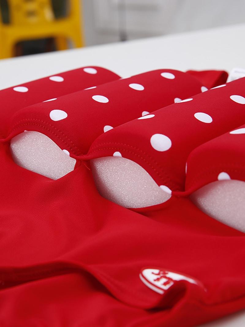 Ericdress Polka Dots One-Piece Bow Girls Buoyancy Swimsuit