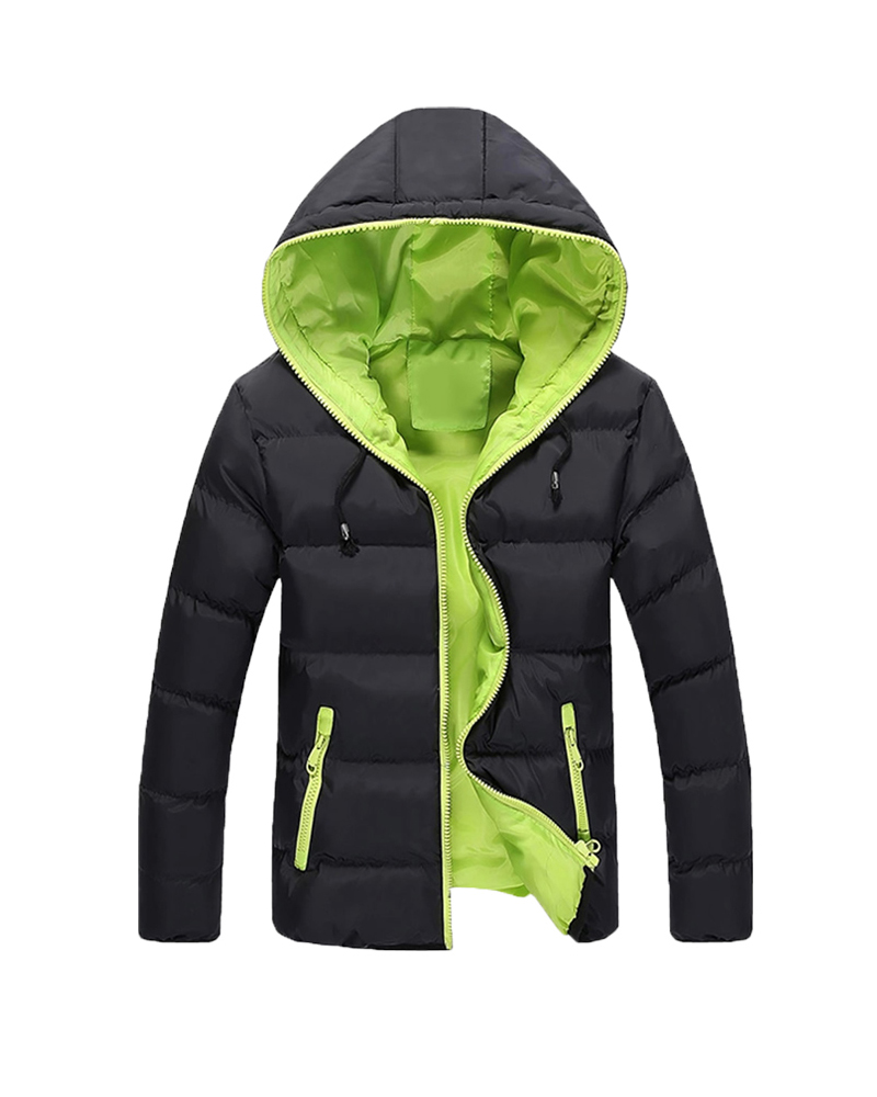 Thick Color Block Zipper Straight Model Pocket Down Coat